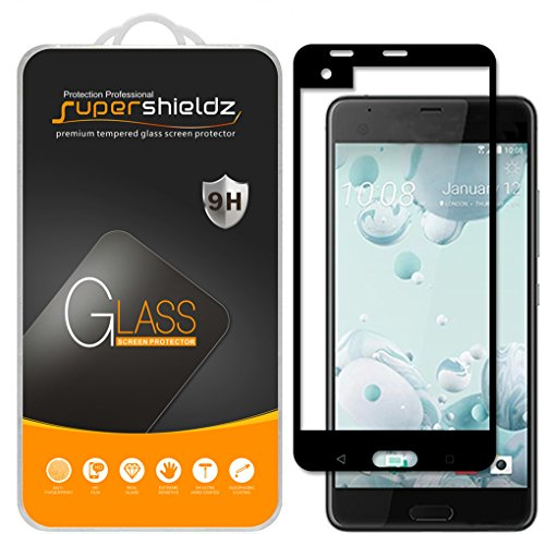 Supershieldz [2-Pack] for HTC U Ultra Tempered Glass Screen Protector, [Full Screen Coverage] Anti-Scratch, Bubble Free, Lifetime Replacement (Black) ()