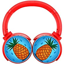 MagicQ New Pineapple Bluetooth Headphones,Hi-Fi Stereo Earphones Red
