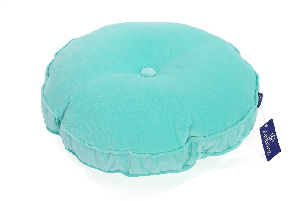 Aitliving Round Dot Cushion Filled Teal Pillow with Button and Piping, 100% Cotton Velvet Back Seat Cushion Pillow 43cm/17 Diameter Floor Pillow Cushion