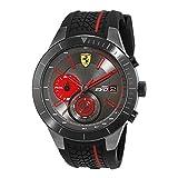 Ferrari Men's Quartz Stainless Steel and Silicone Watch, Color Black...