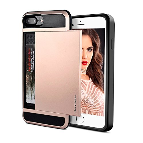 Thin Flat Credit Card Case - Card Slot Case for iPhone 7 Plus/iPhone 8 Plus Hybrid Card Slide Case Impact Resistant Bumpers Cover Shell Dual Layer TPU Credit Card Sliding Hard Phone Case Decovans DP20 Protective Case -Rose Gold