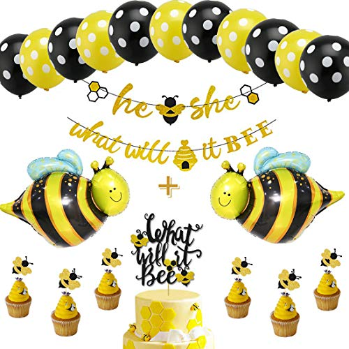 (What Will It Bee Gender Reveal Party Decorations Set - He or She Bee Banner,Bumble Bee Cake Topper,12