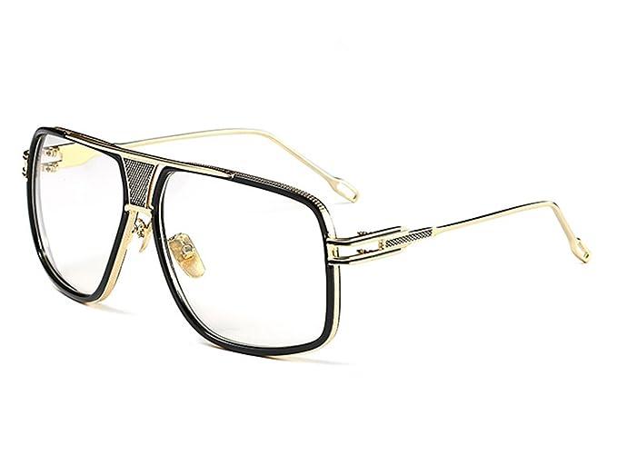 295c977f56052 Double-Bridge Sunglasses Driving Men Oversized Retro Sun Protection Glasses  Square Metal Eyewear  Amazon.co.uk  Clothing
