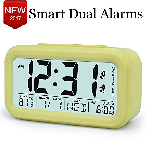 TXL Electronic Alarm Clocks for Heavy Sleepers,Easy to Set,Low Light Sensor Technology, Soft Backlight, Digital Office Home Alarm Clock for Teens or Kids Yellow