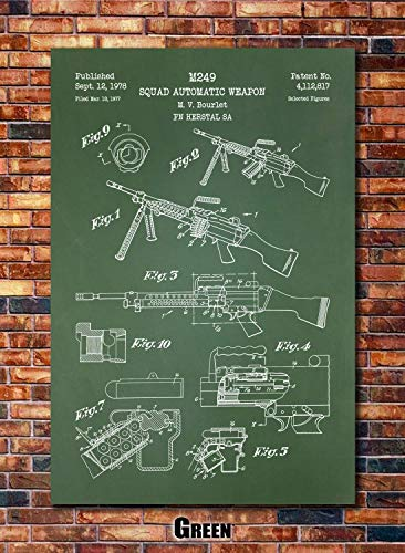 M249 SAW Machine Gun Patent Print Art 1978