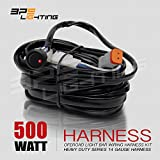 BPS Lighting LED Light Bar Wiring Harness / Off Road 40 Amp Relay Switch [9ft] • Plug and Play • Waterproof Connectors Included • Professional Harness / DT Connectors