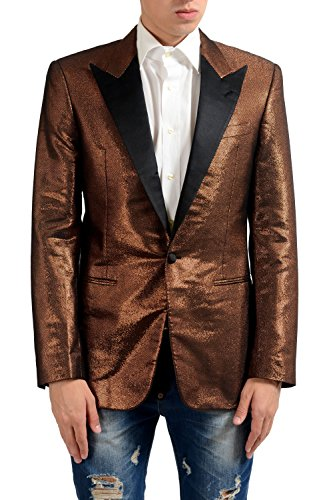 Maison Margiela 14 Men's Silk Gold Tuxedo Style One Button Blazer US 38 IT - Gold Margiela