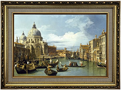 Historic Art Gallery the Entrance to the Grand Canal, Venice 1730 by Canaletto Framed Canvas Print, 12