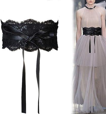 TINERS Faja de Encaje, cinturón Ancho para Mujer con Camisa de Vestir, Tirantes Decorativos, Cintura Negra: Amazon.es: Hogar