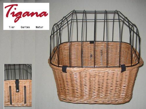 Tigana - Fahrradkorb aus Weide mit Gitter und Kissen für Lenker 45 cm