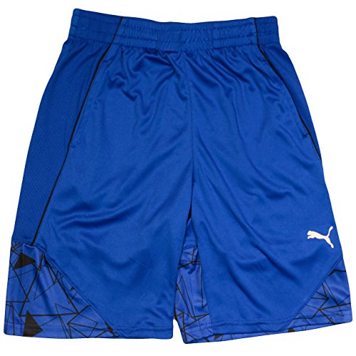 PUMA Short For Boys with Printed Design Royal Blue Black Athletic Shorts Xlarge