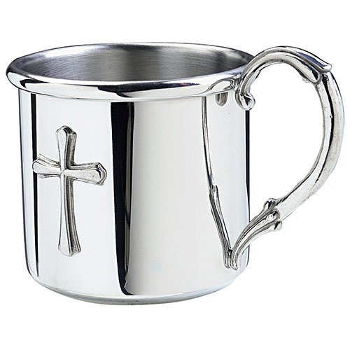 Salisbury Pewter Engravable Easton Baby Cup With Cross