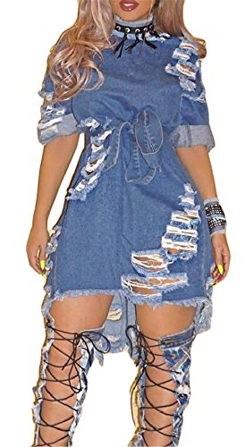 Qicool Womens Short Sleeve BF Style Ripped Distressed Hole Clubwear Party Denim Dress Denim Blue X-Large Denim Blue Jean Dress