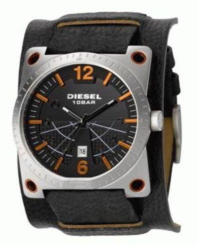 Diesel , DZ1212 , Montre Homme , Quartz Analogique , Montre Acier , Bracelet  de Force en Cuir Noir , Dateur Diesel Amazon.fr Montres