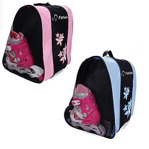 In Line Skates Bag - Fafada Ice Skating Bag Hockey Skate Figure Shoes Case Roller Holder Inline(Pink)