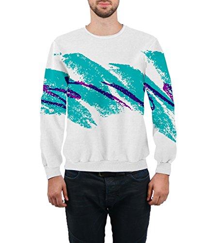 Goodstoworld Unisex 70's Jazz Solo Cup Joggers Sweatshirt White Blue Graffiti Design Comfy Sports Clothing, US L=Asia XXL