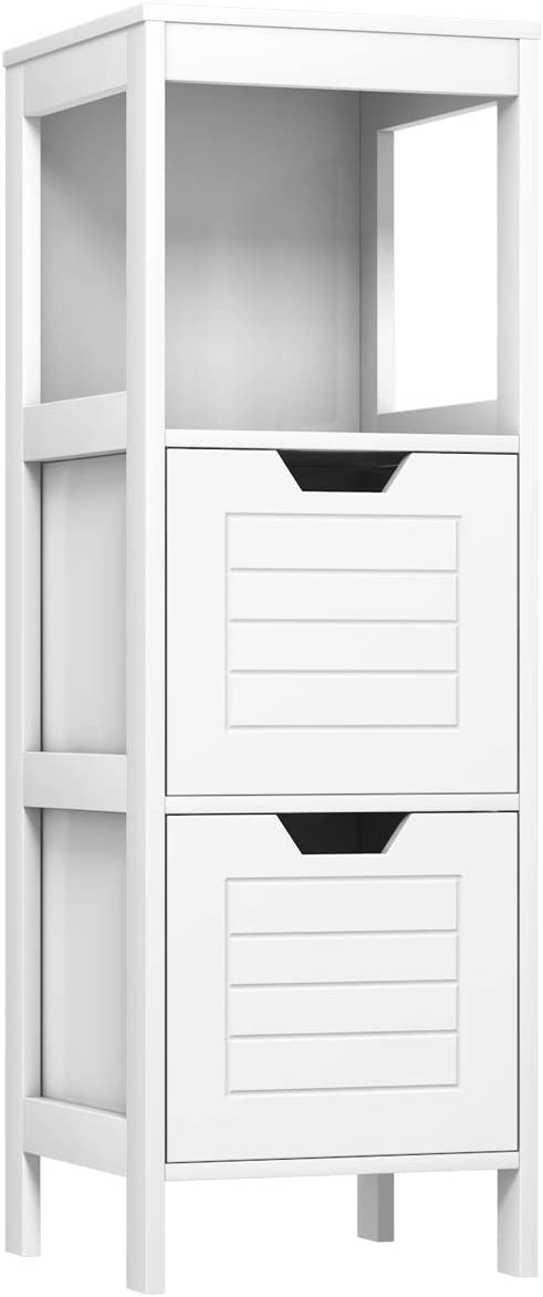 Tangkula Bathroom Floor Cabinet, Multifunctional Wooden Storage Cabinet with 2 Adjustable Drawers, Sturdy Side Cabinet for Home Office Living Room Bathroom Bedroom (White)