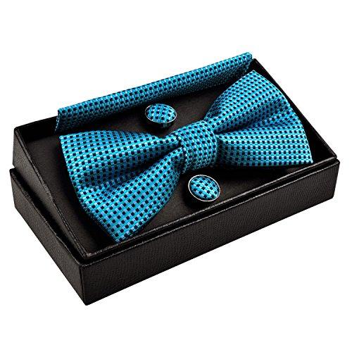 Vert Papillon mouchoir De nœud boutons Alizeal Bleuâtre homme Manchette wtqPEE0