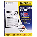 C-Line Stitched Shop Ticket Holders, Both Sides Clear, 8.5 x 11 Inches, 25 per Box (46911)