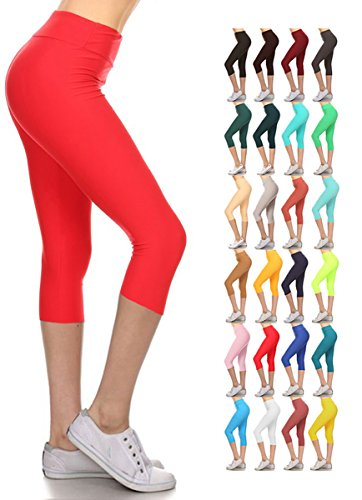 Leggings Depot Women's Yoga Gym High Waist Reg/Plus Solid and Printed Workout Capri Leggings Pants 16+Colors (Red, Plus Size (Size L-2X / Size 12-20))