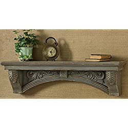 "Mantel Shelf Aged Gray Dimensions: 9.25""h X 34.5""w X 6.5""d"