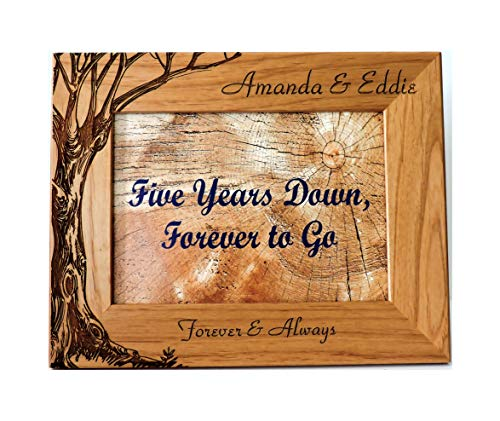 5th Wood Photo Frame Tree Design Engraved 7x5 Everything is Included