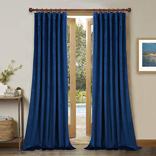 Luxury Velvet Blackout Curtain Panels - Living Room Thick Velvet Drapes Noise Absorbing Heat Blocking Draperies with Rod Pocket & Back Tab Design for Guest Room, Blue, W52 x L84 ()