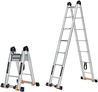 LY-Escalera Escalera telescópica de aleación de aluminio Escalera plegable doméstica Escalera multifunción portátil Escalera de ingeniería for loft, casa alrededor, construcción (Talla : 2.5m/8.2ft): Amazon.es: Bricolaje y herramientas