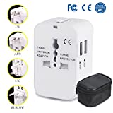 Travel Adapter All in One Universal Adapter for USA EU UK AUS Europe, AC Wall Outlet Charger Plug Adapter Converter, Worldwide Adapter with Dual USB Charging Ports for Cell Phone Laptop (White)
