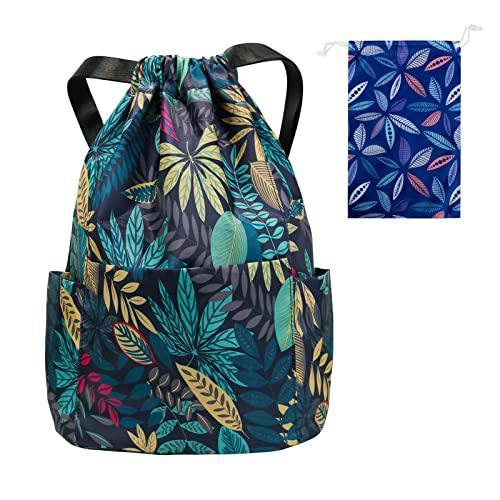 Bestjing Drawstring Backpack, Nylon Waterproof Drawstring Bags, Large Capacity String Bag, Adjustable Shoulder Straps Gym Backpack, Suitable for Swimming, Gym, Travel, School