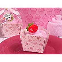 Cupcake towel favor pink teddy bear design From FavorOnline