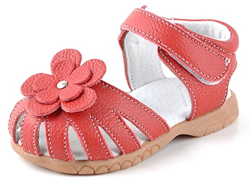 Femizee Girls Genuine Leather Soft Closed Toe Princess Flat Shoes Summer Sandals(Toddler/Little Kid),Red,1504 CN20