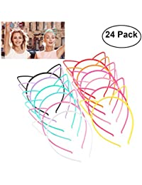 Plastic Cat Ear Headbands for Party Costume Daily Decorations, 24 Pieces with 12 Colors