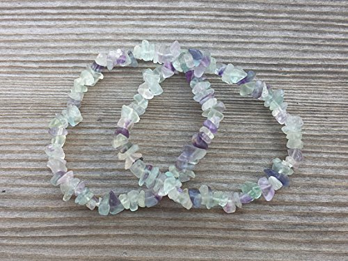 [A&S Crystals] FLUORITE Natural Stone Gemstone Stretchy Chip Bracelet