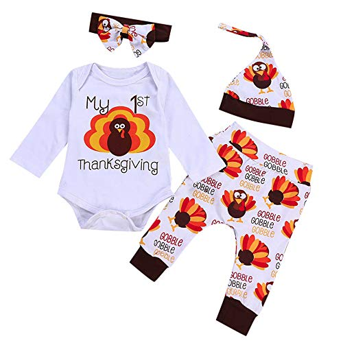 AutumnFall Baby Girls Boys Turkey My 1st Thanksgiving Day Letter Print Tops Pants Hat Set Clothes (Age:12-18 Months, White)