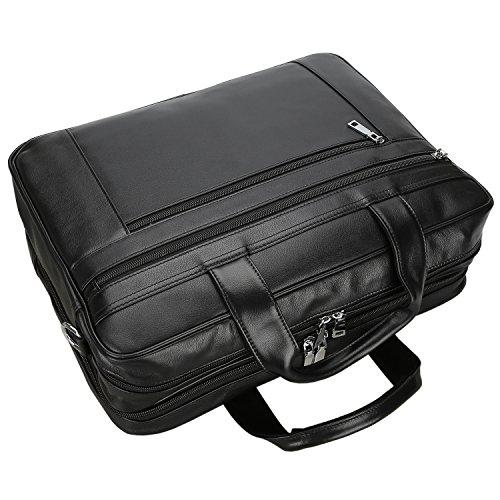 c9922b9fd212 Polare Men's Real Soft Napa Leather 17'' Briefcase Laptop Business Bag Black