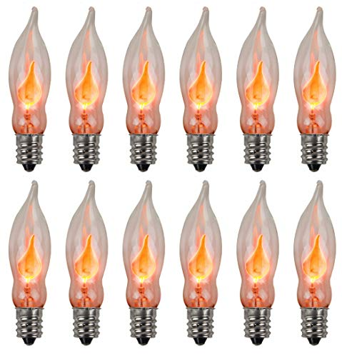 (Creative Hobbies A101 Flicker Flame Light Bulb -3 Watt, 130 Volt, E12 Candelabra Base, Flame Shaped, Nickel Plated Base,- Dances with a Flickering Orange Glow -Wholesale Box of 10 Bulbs)