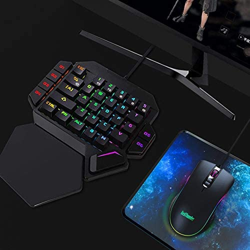 ZSBH PC PS4 XboxのゲーマーのためのRedThunder片手メカニカルゲーミングキーボードRGBバックライト付きポータブルミニゲームパッドゲームコントローラ (Color : K50 Combo)