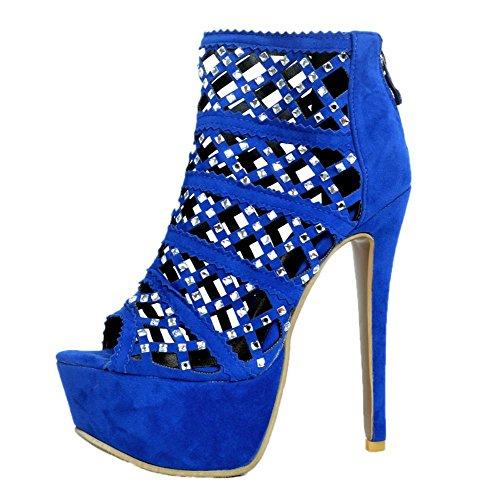 YCMDM Women's Stiletto Heel Sandals Scrub Rhinestones high quality leather Nightclub Party Evening Fashion Shoes , 39 , blue