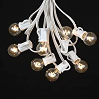 100 Foot G30 Outdoor Lighting Patio Globe String Lights, White Wire, 125 Bulbs by Novelty Lights