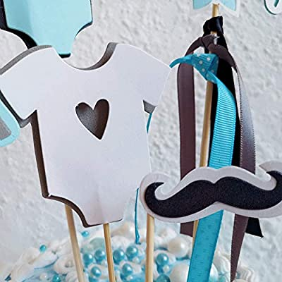 Little Man Bunting Banner Bowtie Mustache Infant Wear Hat Cake Cupcake Toppers Little Man Baby Shower Party Decorations Supplies by Shxstore: Toys & Games