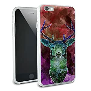 Deer Watercolor Magenta Protective Slim Hybrid Rubber Bumper Case for Apple iPhone 6 6s Plus