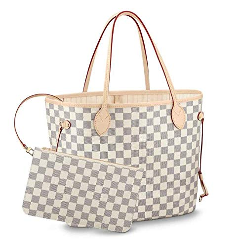 Womens Classic Canvas Neverfull Top-Handle Tote Bag Large Volume Shoulder Bag (MM 32cm, damier Azure with beige inside) ()