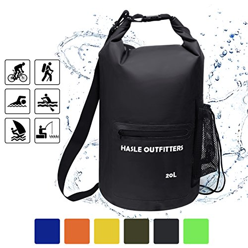 d65c2f0e67 HASLE OUTFITTERS Waterproof Dry Bag-10L 20L 30L Roll Top Compression Sack  with shoulder straps and Front Zippered Pocket Keeps Gear Dry for Boating
