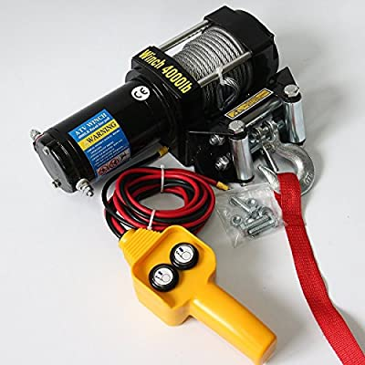 TargetEvo Electric Winch Kit 4000 lbs Capacity 12V ATV UTV Towing Truck Trailer Boat Waterproof (1800 kg)