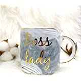Vilight Boss Lady Mug - Gift for Girl Women Boss 2018 - Gold & Marble Coffee Tumbler Ceramic Cup - 11.5 oz