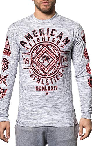 American Fighter Chestnut Hill Long Sleeve Athletic Graphic Fashion Sport T-shirt Top by Affliction
