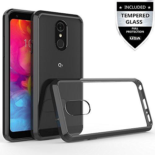 LG Q7 Case, LG Q7 Plus Case with Tempered Glass Screen Protector,IDEA LINE Hybrid Bumper Premium Slim Fit Transparent for LG Q7+ - Black