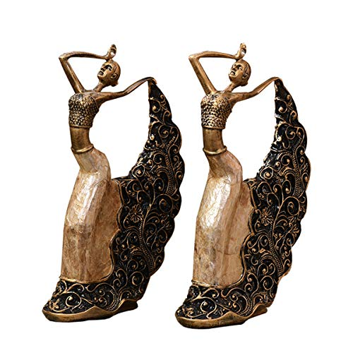 (DABENXIONG Bronze Colored Decorative Female Dancer Statue Vintage Style Table Figurine Home Decor Peacock Dancing Girl Sculpture for Living Room and Bedroom Wedding Gift)