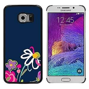 Be Good Phone Accessory // Dura Cáscara cubierta Protectora Caso Carcasa Funda de Protección para Samsung Galaxy S6 EDGE SM-G925 // Child Drawing Flower Colorful Navy